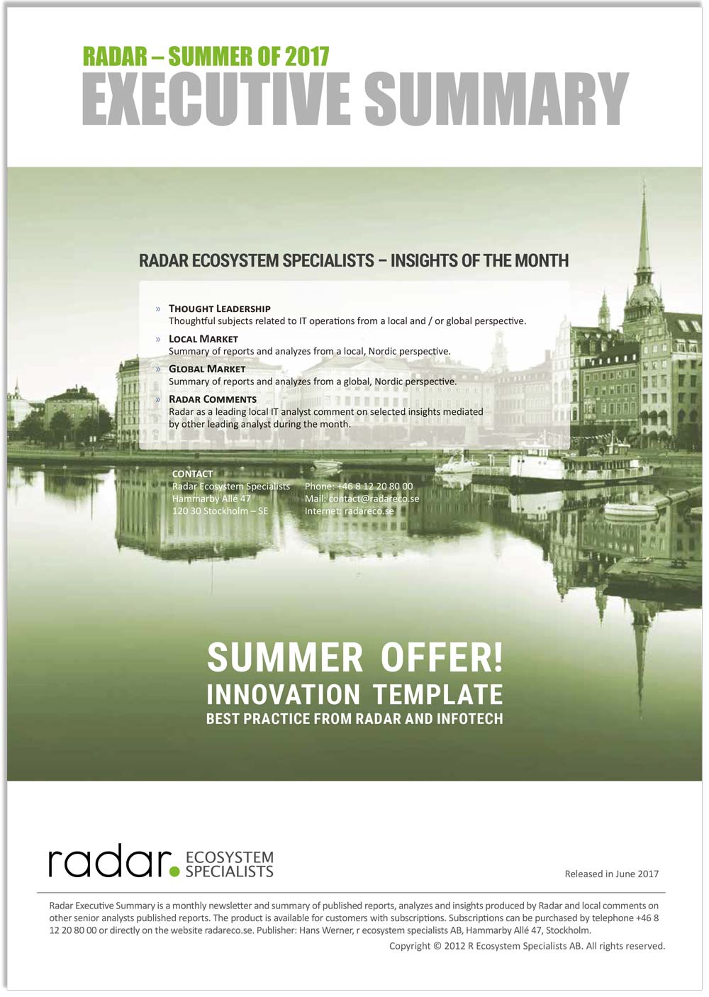 Radar Executive Summary - Summer edition free of charge