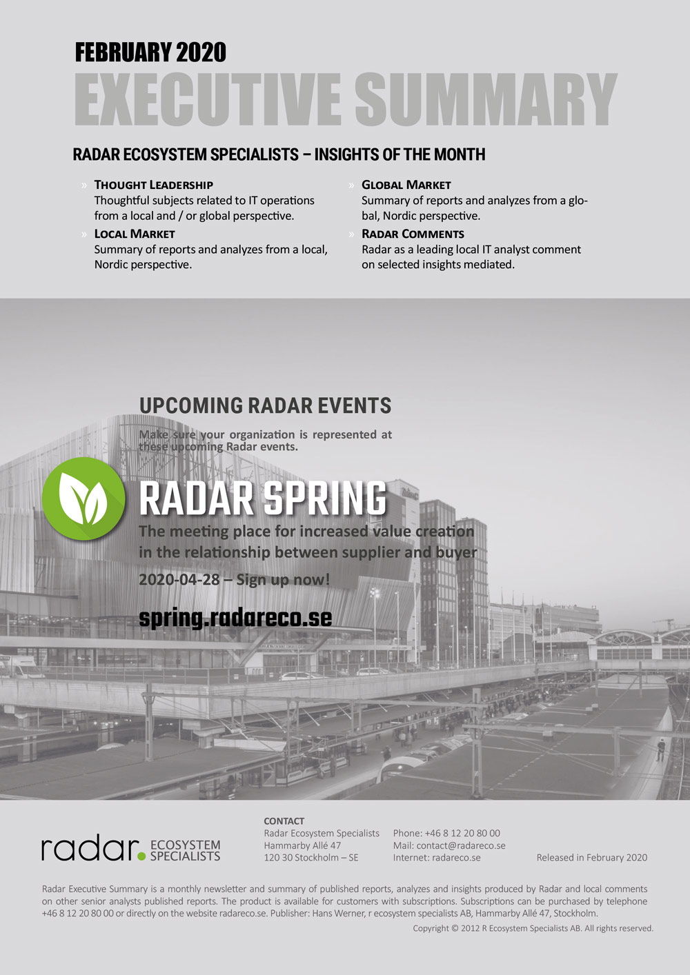 Radar Executive Summary Feb 2020